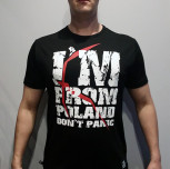 "T-shirt JP Popek ""Don`t Panic"" limited czarny"